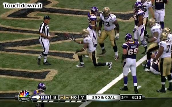 Il touchdown di Pierre Thomas che dal la vittoria ai Saints