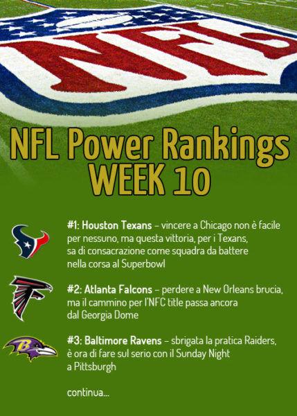Power rankings NFL week 10 infografica