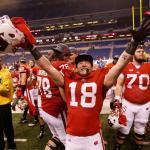 La felicità dei Badgers di Wisconsin per l'accesso al Rose Bowl