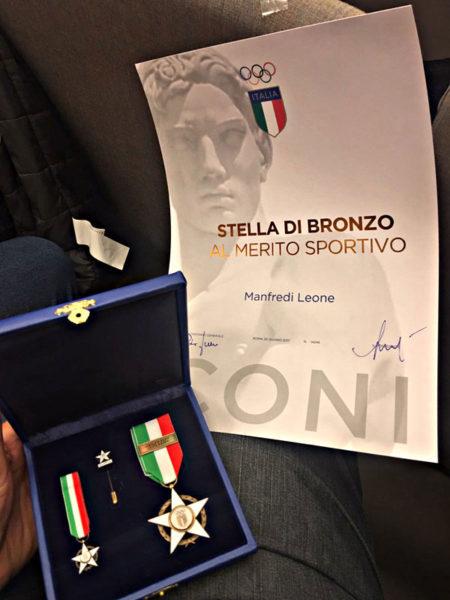 Stella di Bronzo al Merito Sportivo 2017 Manfredi Leone Palermo Cardinals