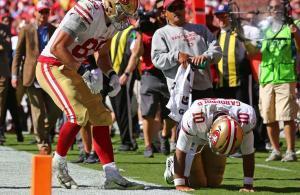 Jimmy Garoppolo infortunio lesione legamento crociato anteriore ginocchio vs Chiefs 2018