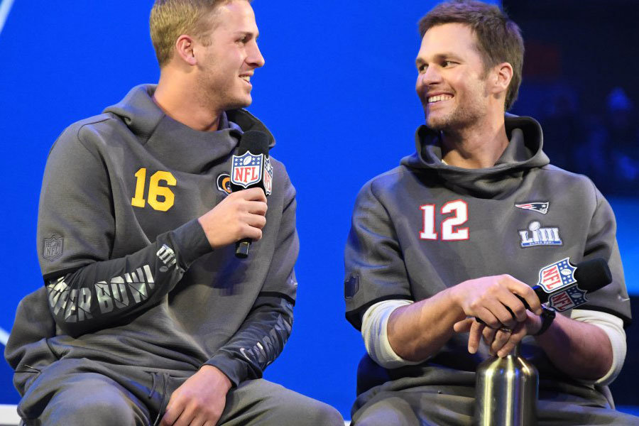 Jared Goff e Tom Brady Super Bowl LIII